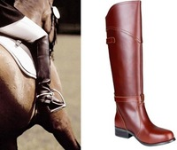 Women genuine leather Luxury Knight Riding Equestrian Knee-High riding boot botas