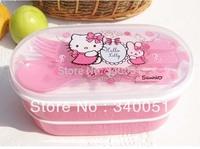 Hot Hello Kitty Plastic Lunch Box For Kids Cartoon Bento Box (1 piece) +Free Shipping