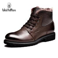 Blaihilton plus velvet warm winter fashion men 's leather boots men's boots genuine Sheepskin Boots high-top shoes Boots
