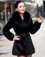 2014 Winter Elegant Fur Coat Women Faux Fox Overcoat,Rabbit Mink Fur Coat Thick Parkas Plus Size 3XL Casacos Femininos