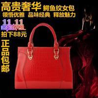 free shipping big 2013 female one shoulder leather cross-body handbag quality women's crocodile pattern handbag