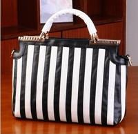 free shipping Hot-selling 2013 metal black and white color block stripe quality PU leather women's handbag cross-body handbag