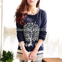 2014 big tree lace patchwork fleece thickening medium-long female t-shirt sweatshirt style