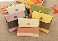 2014 Fashion hit color design women zipper button wallet  PU Leather coin purses Cute Card bags for girl HYX181