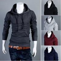 New 2014 Autumn Slim Fit Men Hoodies Mens Sports Casual Sweatshirt Jackets Outerwear Fashion Men's Pullover 5 Color M-XXL