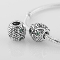 New Wise Owl 925 Sterling Silver Screw Charm Bead with Crystal Eyes, Suitable for Pandora Bracelet Jewelry DIY Making