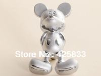 Free Shipping 30pcs Silver Mickey Mouse Handle Animal Drawer Pulls Furniture Hardware Cartoon Knob Handles for Kitchen Cabinet