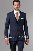 Free shipping Italian high quality worsted 100% pure Wool suit Men Business suit Two Buttons Essential Blue Three-Piece Suit