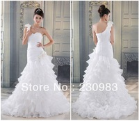 Free Shipping Pleated Strapless Neckline Floor Length Zipper Back Chiffon One Shoulder Wedding Dresses With Handmade Flower