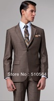 Free shipping Italian high quality worsted 100% pure Wool suit Men Business suit Two Buttons Premium Brown Suit