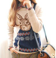 Free Shipping 2013 New Fashion Tops Women Casual Knitted Pullover Sweater Cartoon Rabbit Pattern Vintage Loose Cute Style 1102