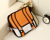 1pcs/lot,Free Shipping 5 Colors Together Comic Cartoon 3D Shoulder Messenger Bag Gismo Cartoon Bag
