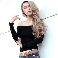 Fashion women 2014 clothes sexy slim slit neckline strapless tops for women t-shirts long-sleeve basic shirt modal
