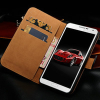 Genuine leather case for samsung Galaxy Note III N9000 real smooth leather wallet case for galaxy Note3 + screen protector