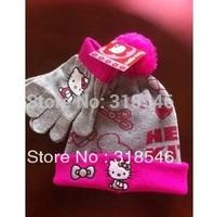 Free shipping 5sets/ lot kids hello kitty warm cap+glove 2pcs set  cartoon winter hat+glove grey and black
