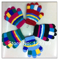 Kids Baby Toddler Colorful Stripe Mittens Five Finger Gloves Winter Warmer Children Gifts