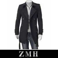 Free shipping 2013 Hot Korean fashion men male winter wool trench,coat,overcoat,outwear,long double-breasted,latest style M-XXL