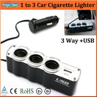 DC12V/24V USB & Triple 3 Sockets Car Charger For Phone GPS Dvr Electronic Auto Car Cigarette Lighter Socket Splitter Car Styling