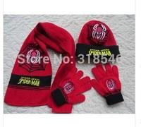 2014 winter newest free shipping 3sets /lot baby boy spider man knitted scarf+hat+glove 3pcs set warm scarf ,hat glove