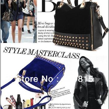 Hot Selling New 2014 Design Scrub Rivet Messenger Bag Multi-Purpose Faux Leather Women's Tote Hobo Big Bags Shoulder Handbags