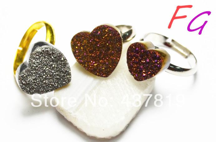 Free shipping Natural Agate Drusy Gem stone heart 15*15MM adjustable ring RI-US-0016 5PCS/Lot Chrismas Gift !! druzy(China (Mainland))