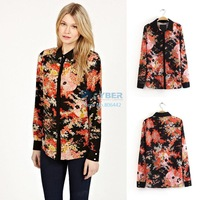 2014 New Women Lady Long Sleeve Lapel Bump Color Flower Printed Chiffon Shirt Female Hot Selling Blouse 18491