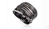 2013 New European Popular Punk Style Multilayer Genuine Leather Bracelet Bangle for Unisex Men & Women with Metal Button