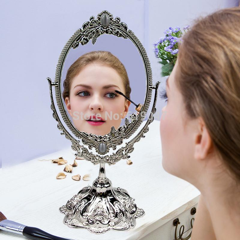 De estilo clásico de imitación de plata 360 girar grados de aleación de espejo cosmético hacer- up para espejo tocador de escritorio tamaño contador b013 s