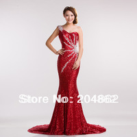 2013 fish tail one shoulder paillette rhinestone long design evening dress slim sexy costume Mermaid dress