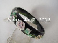 BEAUTIFUL NATURAL GREEN JADE INLAY CONCH BRACELET BANGLE