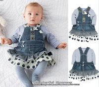 Retail new 2014 baby gril clothing set (stripe t-shirt+denim suspender dress),infant spring  jean dress children clothing suits