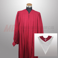 Senior Fluted Trinity Choir Robes cuff sleeve with stole Package - Maroon+Maroon White