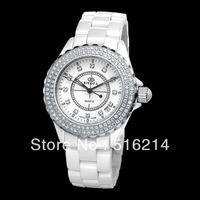 Hot Selling Ceramic Watch, Waterproof Quartz For Men/Women, White Luxury Wristwatch,Christmas Gift, Free Shipping J002B