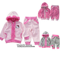 Retail+Free Shipping!Autumn Clothes For Girls,Kids Autumn Sets,Baby Girl Kitty Clothes,Clothing Sets (Hooded Coat+Pants)