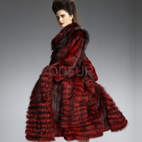 2013 Luxury European Real Whole-hide Mink Fur Overcoat with Silver Fox Fur Hem  Elegance Winter Outerwear  QD29202
