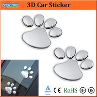 Wholesale/Retail 20pcs/lot Car Sticker Decorative Cool 3D Dog Bear Footprints Chrome Badge Emblem Car Sticker Decal Car Styling