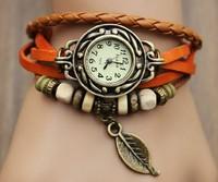 Wholesale High Quality Xmas Gift Women Genuine Leather Vintage Watch, Leaf Pendant bracelet Wristwatches