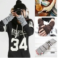 Free shipping girl long gloves oversleeue oversleeve gloves Knitted Fur Trim mittens detachable sheath for a sleeve oversleeue