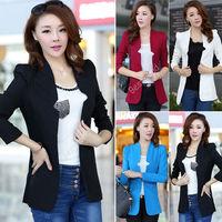 HK  Free Shipping New  Style Autumn Womens Ladies Casual Cotton Slim Suit  No Button Blazer Coat Jacket 4 Color S/M/L/XL
