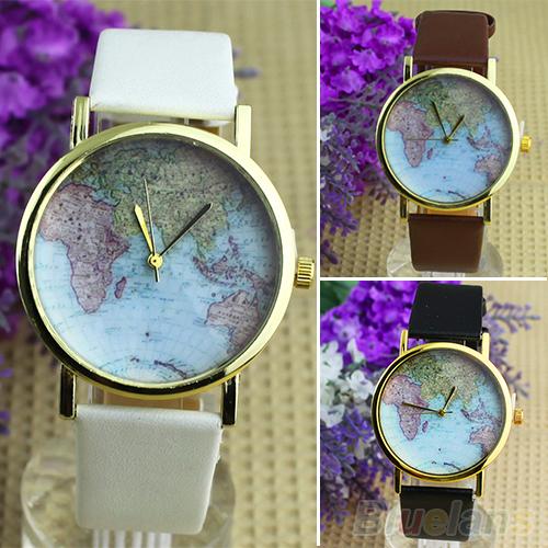Hot Sale christmas gifts Retro World Map Watch Fashion Leather Alloy Women Casual Analog Quartz Wrist Watch items 01EB(China (Mainland))