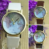Hot Sale christmas gifts Retro World Map Watch Fashion Leather Alloy Women Casual Analog Quartz Wrist Watch items 01EB