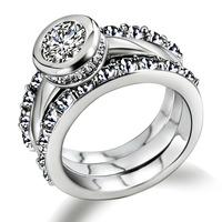 18k gold platinum Zirconia Crystal finger ring Luxury Engagement Anniversary Present