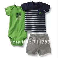 1set retail!  original carter's baby boy short sleeve bodysuit + tshirt with pants 3 pcs clothes set, carter's baby clothes set