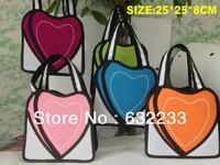 1pcs/lot,Free Shipping 5 Colors Comic Pack 3D stereoscopic 2D handbag small bag handbag purse cute girls hearts
