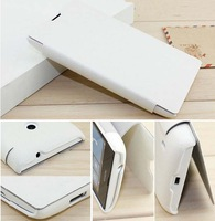 2013 NewWhite Thin Stand Flip Folio Open PU Leather Case Cover for Nokia Lumia 520 Free Shipping