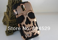 High quality Fashion Hybrid Skull Skeleton Plating Case with silicon Cover For Samsung Galaxy S3 I9300 S4 I9500+free screen flim