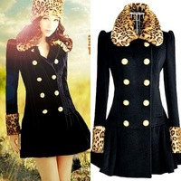 2014 Pink Doll Leopard Exclusive Fake Fur Collar Double-Breasted Full Sleeve Elegant Blazer Winter Women's Dress Slim Wool Coat
