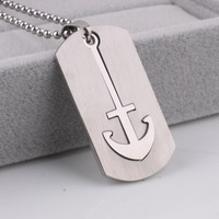 Anchor square tags pendant necklaces bead chain for men 316L Stainless Steel necklace wholesale Free shipping