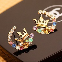 Hot sale wholesale Fashion shourouk color rhinestone brand stud earring 2014 new luxury crown design brincos jewelry for women