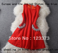 C Fashion women's 2013 handmade beading high quality slim woolen sleeveless one-piece dress